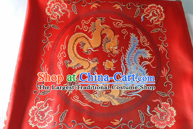 Chinese Traditional Dragon Phoenix Pattern Red Brocade Fabric Silk Tapestry Satin Fabric Hanfu Material