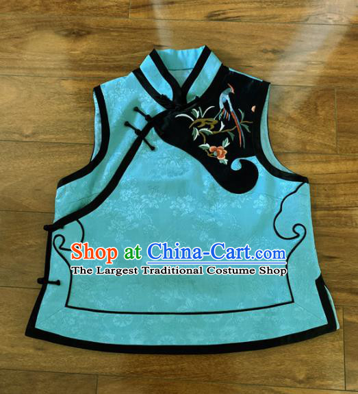 Chinese Traditional Embroidered Blue Silk Vest Tang Suit Waistcoat for Women