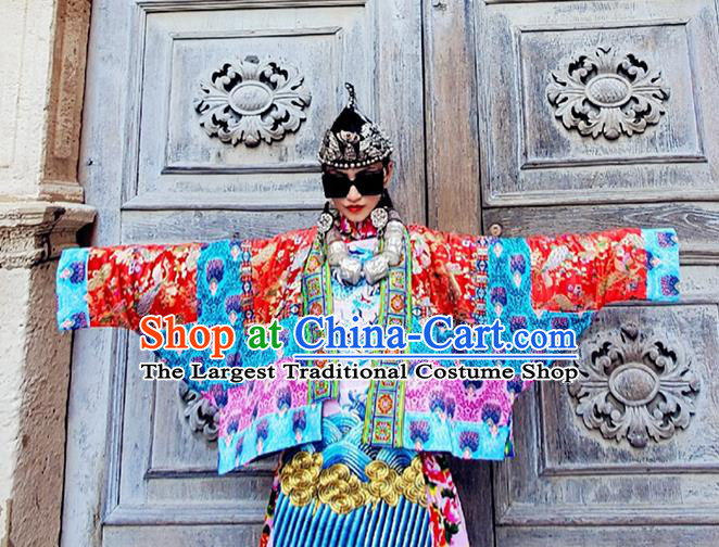 Chinese Traditional Red Brocade Jacket Tang Suit Outer Garment Costume for Women