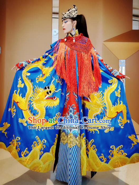 Chinese Traditional Embroidered Dragon Royalblue Cloak Tang Suit Cape Costume for Women