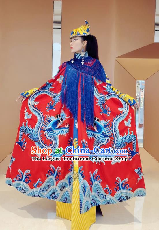 Chinese Traditional Embroidered Dragon Red Cloak Tang Suit Cape Costume for Women
