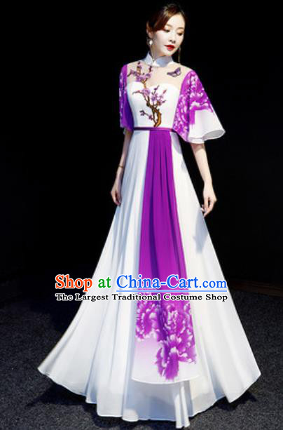 Chinese National Embroidered Plum Purple Qipao Dress Traditional Compere Cheongsam Costume for Women