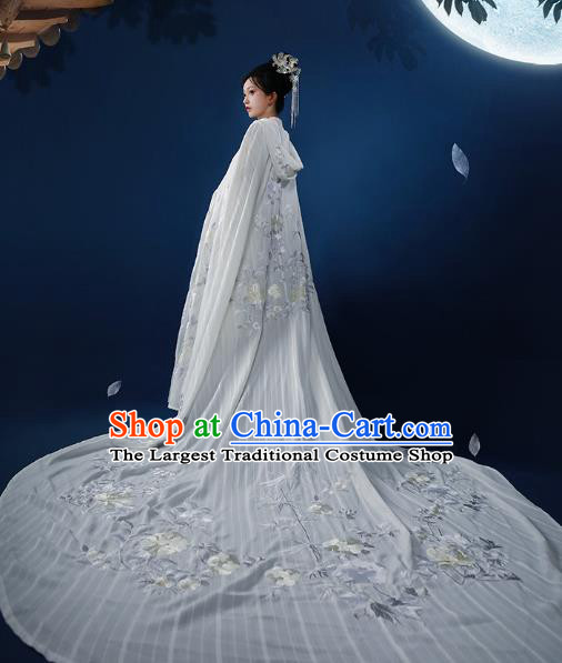 Chinese Ancient Imperial Consort Embroidered White Cloak Traditional Tang Dynasty Palace Lady Costumes for Women