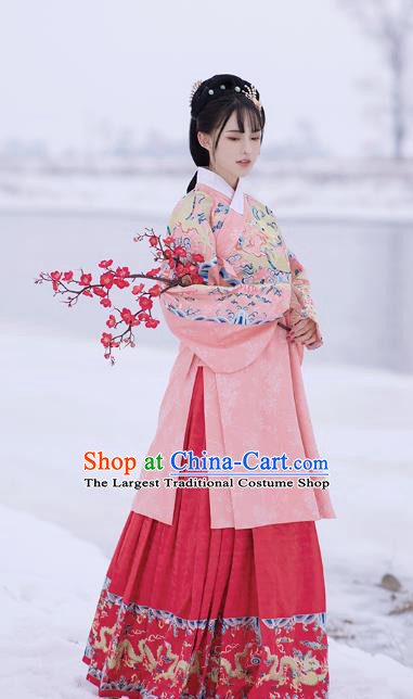 Chinese Ming Dynasty Royal Princess Pink Blouse and Skirt Traditional Ancient Patrician Lady Costumes for Women