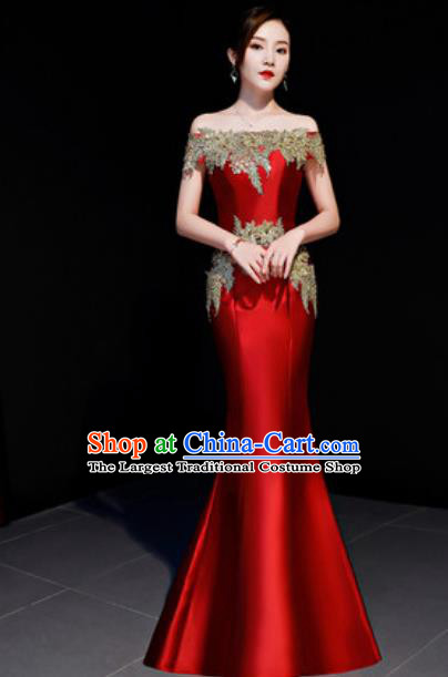 Top Compere Catwalks Embroidered Wine Red Full Dress Evening Party Costume for Women