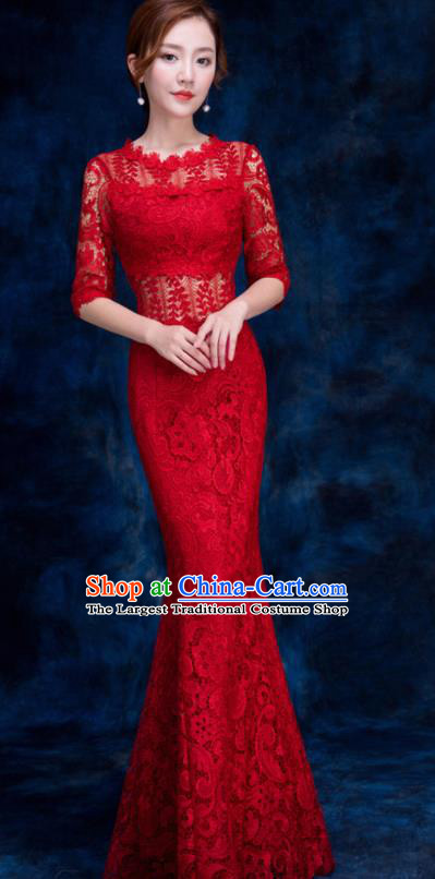 Top Compere Catwalks Red Lace Full Dress Evening Party Compere Costume for Women