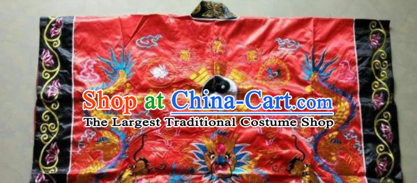 Chinese National Quanzhen Taoist Frock Embroidered Dragon Red Cassock Traditional Taoism Rites Costume for Men