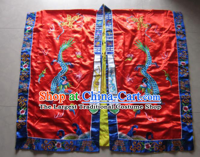 Chinese National Quanzhen Taoist Frock Embroidered Wine Red Cassock Traditional Taoism Rites Costume for Men