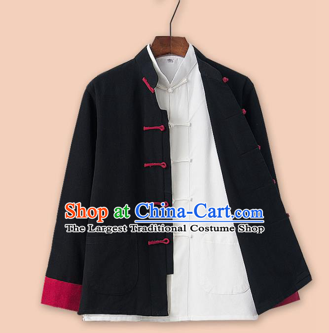 Chinese National Tang Suit Black Jacket and Shirt Traditional Martial Arts Costumes for Men