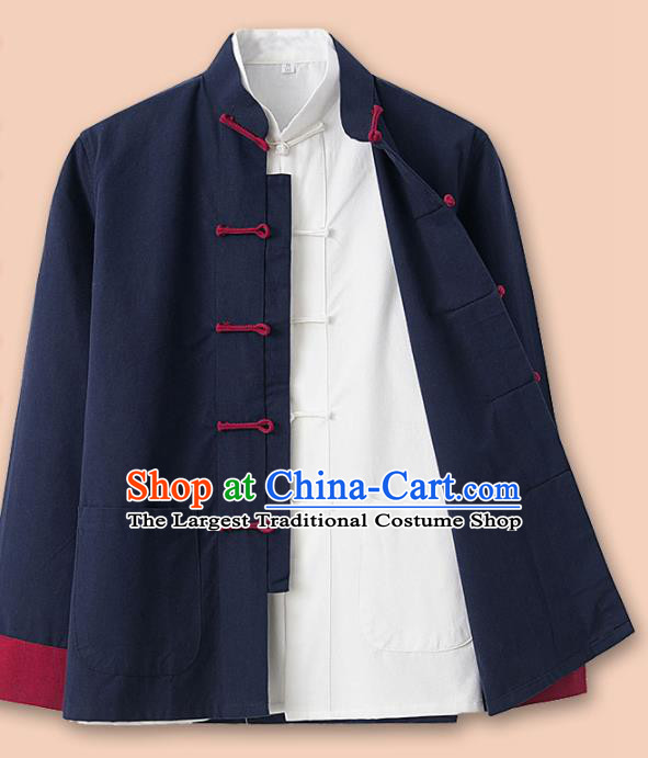 Chinese National Tang Suit Navy Linen Jacket and Shirt Traditional Martial Arts Costumes for Men