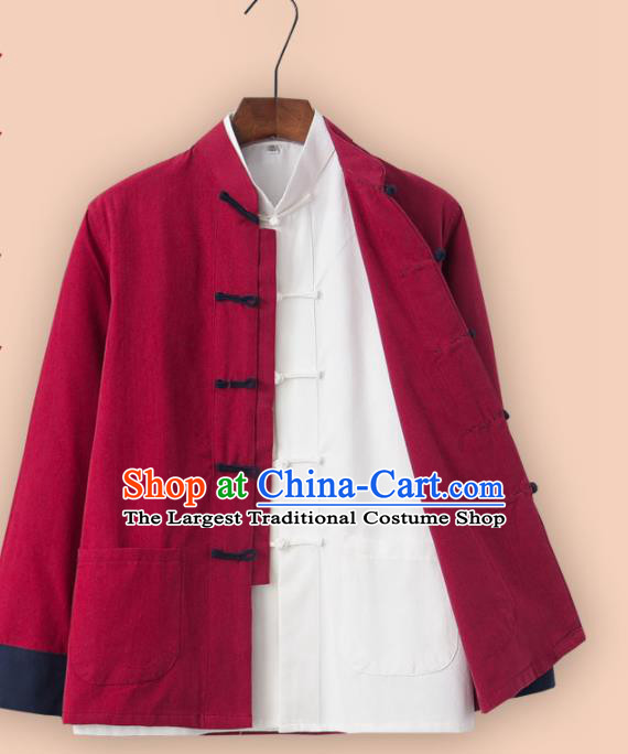 Chinese National Tang Suit Red Linen Jacket and Shirt Traditional Martial Arts Costumes for Men