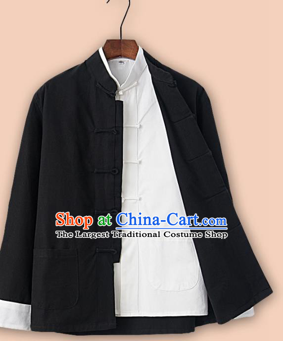 Chinese National Tang Suit Black Linen Jacket and Shirt Traditional Martial Arts Costumes for Men