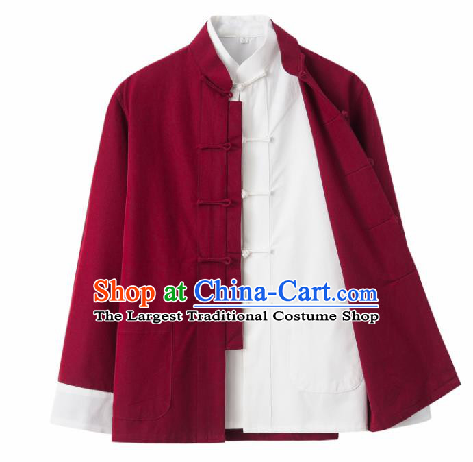 Chinese National Tang Suit Wine Red Linen Jacket and Shirt Traditional Martial Arts Costumes for Men