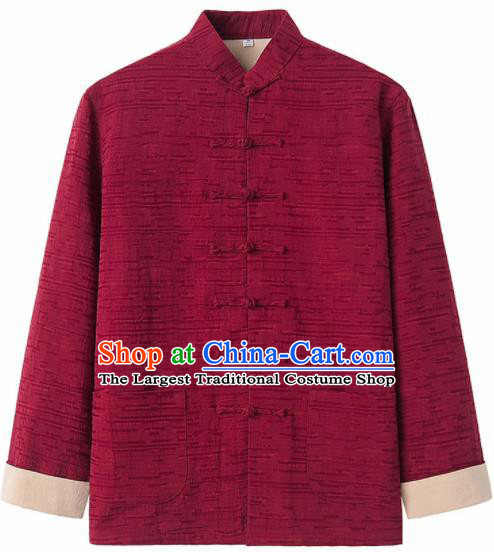 Chinese National Tang Suit Red Flax Jacket Overcoat Traditional Martial Arts Costumes for Men