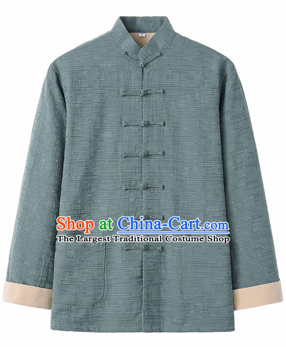 Chinese National Tang Suit Green Flax Jacket Overcoat Traditional Martial Arts Costumes for Men