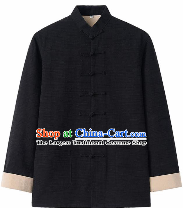 Chinese National Tang Suit Black Flax Jacket Overcoat Traditional Martial Arts Costumes for Men