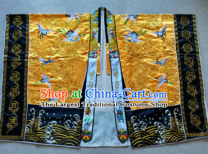 Chinese National Taoist Embroidered Cranes Yellow Priest Frock Cassock Traditional Taoism Rites Costume for Men
