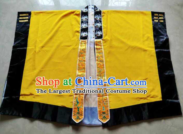 Chinese National Taoist Yellow Priest Frock Cassock Traditional Taoism Rites Costume for Men