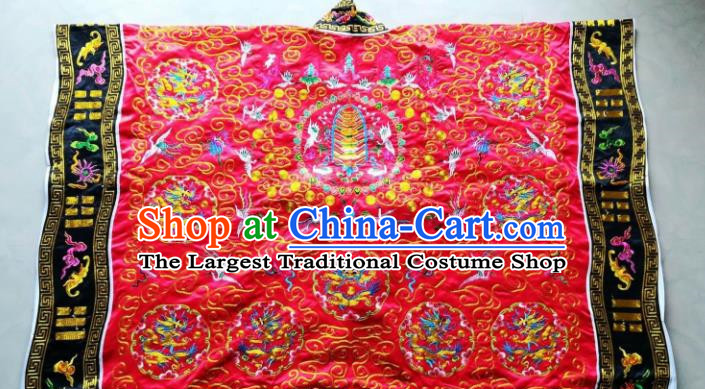 Chinese National Taoist Embroidered Dragon Red Frock Cassock Traditional Taoism Rites Costume for Men