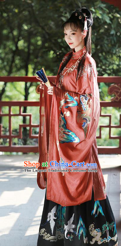 Chinese Ming Dynasty Palace Lady Red Embroidered Dress Traditional Ancient Imperial Consort Costumes for Women