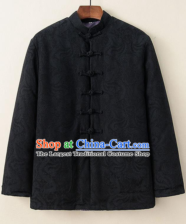 Chinese National Tang Suit Black Cotton Padded Coat Traditional Tai Chi Jacket Costumes for Women