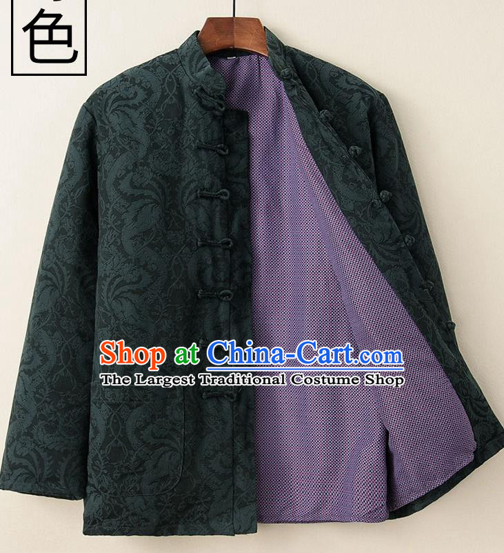 Chinese National Tang Suit Deep Green Cotton Padded Coat Traditional Tai Chi Jacket Costumes for Women