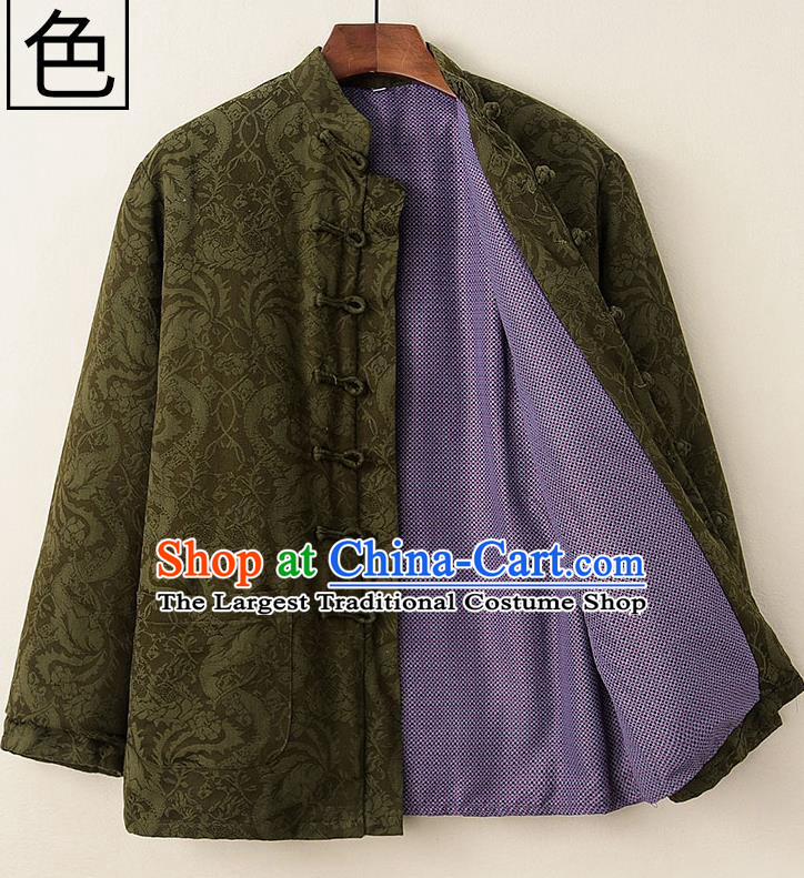 Chinese National Tang Suit Olive Green Cotton Padded Coat Traditional Tai Chi Jacket Costumes for Women