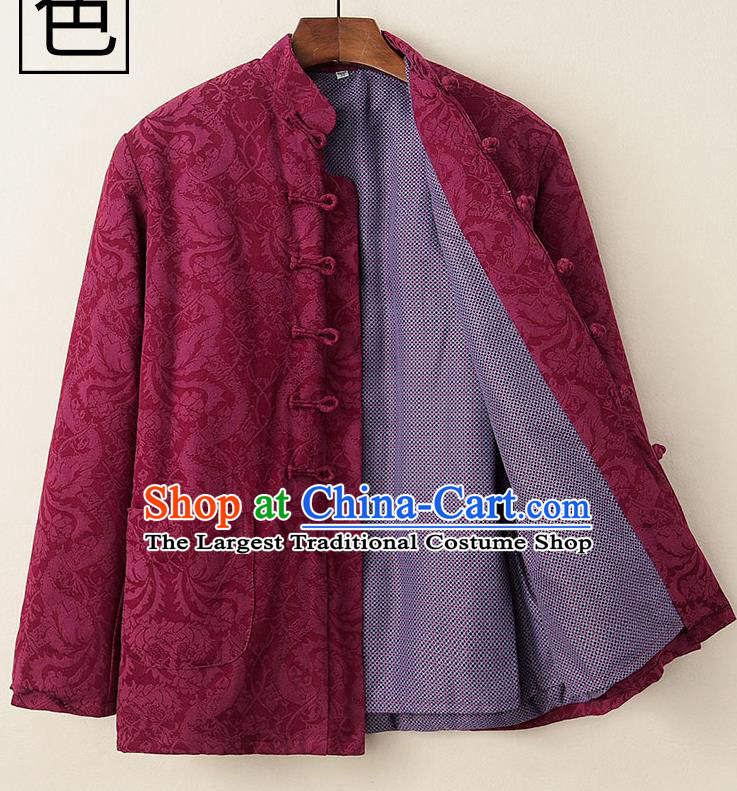 Chinese National Tang Suit Wine Red Cotton Padded Coat Traditional Tai Chi Jacket Costumes for Women