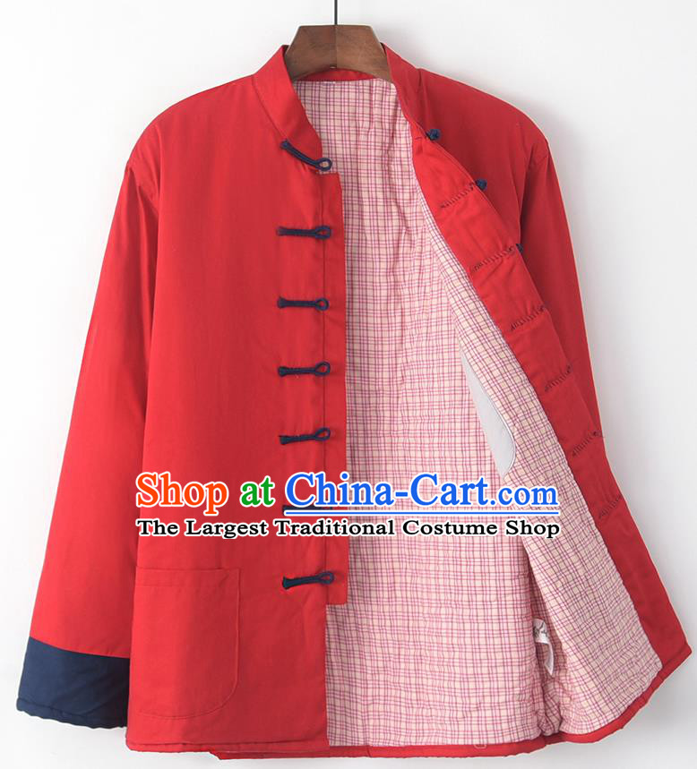 Chinese National Tang Suit Red Jacket Traditional Martial Arts Costumes for Men