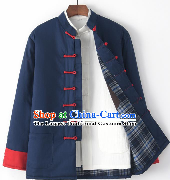 Chinese National Tang Suit Navy Jacket Traditional Martial Arts Costumes for Men