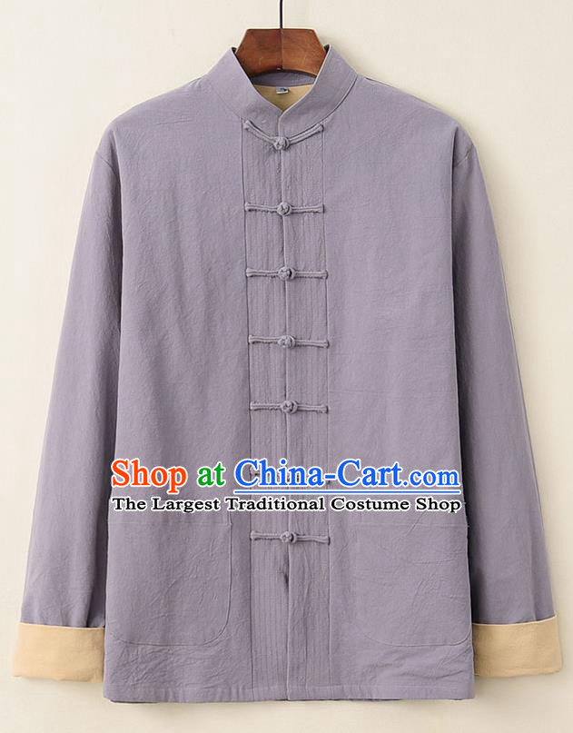 Chinese National Tang Suit Grey Upper Outer Garment Jacket Traditional Martial Arts Costumes for Men