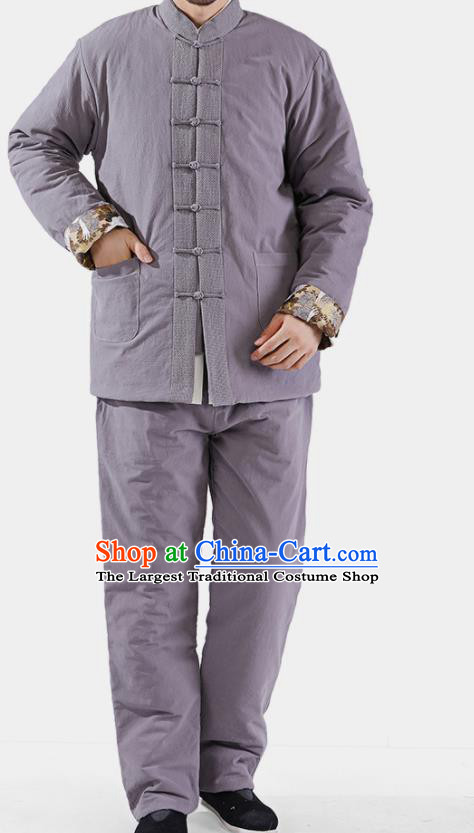 Chinese National Grey Cotton Wadded Jacket and Pants Traditional Tang Suit Martial Arts Costumes Complete Set for Men
