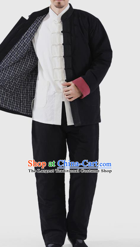 Chinese National Black Cotton Wadded Jacket and Pants Traditional Tang Suit Martial Arts Costumes Complete Set for Men