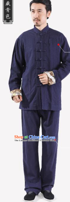 Chinese National Navy Flax Jacket and Pants Traditional Tang Suit Martial Arts Costumes Complete Set for Men