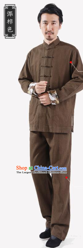 Chinese National Brown Flax Jacket and Pants Traditional Tang Suit Martial Arts Costumes Complete Set for Men