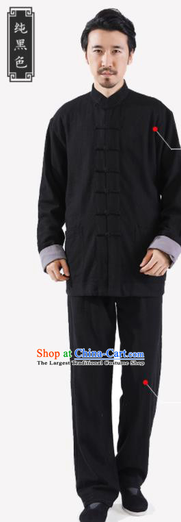 Chinese National Black Flax Jacket and Pants Traditional Tang Suit Martial Arts Costumes Complete Set for Men