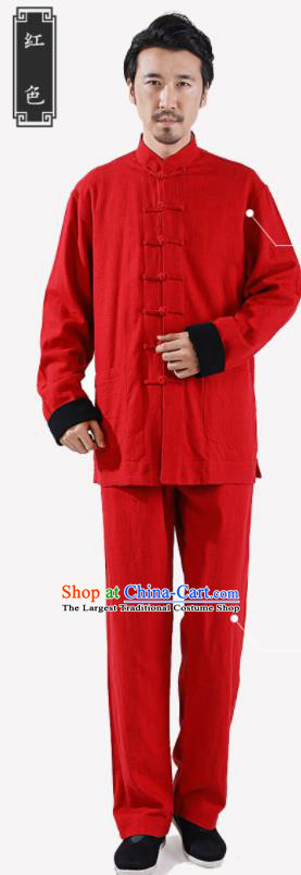 Chinese National Red Flax Jacket and Pants Traditional Tang Suit Martial Arts Costumes Complete Set for Men