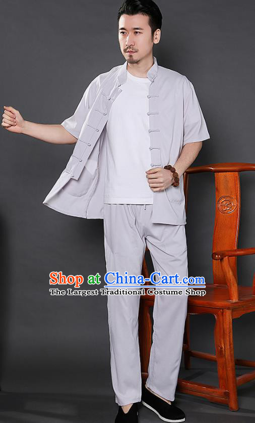 Chinese National Light Grey Shirt and Pants Traditional Tang Suit Martial Arts Costumes Complete Set for Men