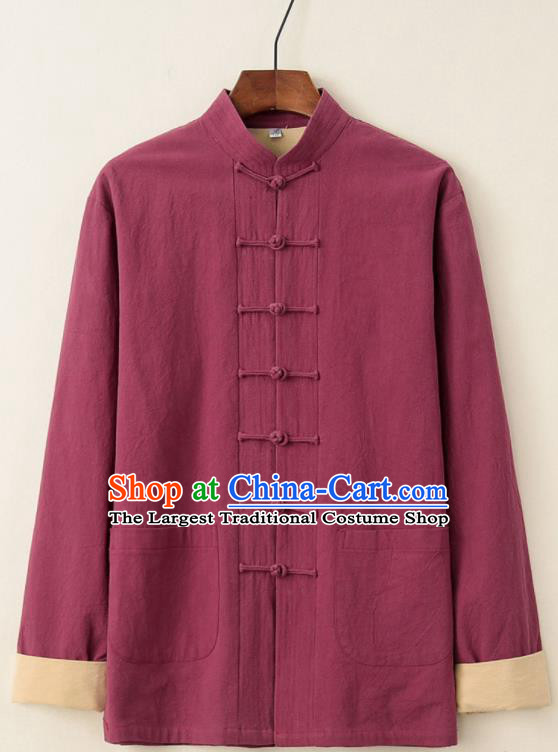 Chinese National Tang Suit Wine Red Upper Outer Garment Jacket Traditional Martial Arts Costumes for Men