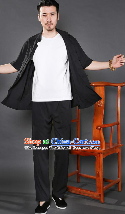 Chinese National Black Shirt and Pants Traditional Tang Suit Martial Arts Costumes Complete Set for Men