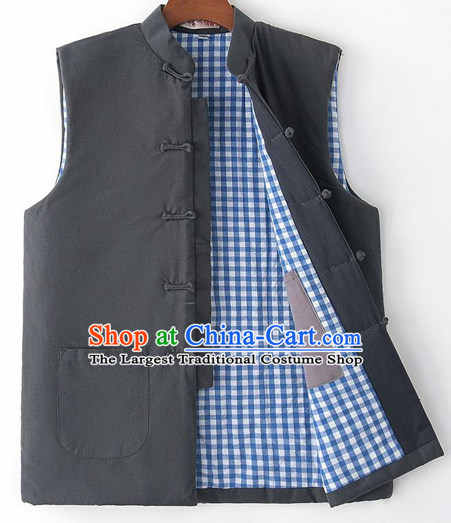 Chinese National Tang Suit Grey Vest Traditional Martial Arts Waistcoat Costumes for Men