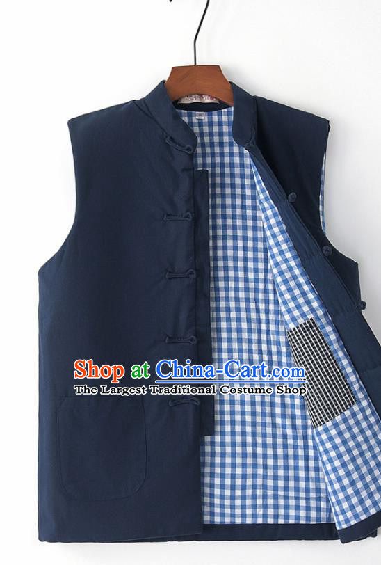 Chinese National Tang Suit Navy Vest Traditional Martial Arts Waistcoat Costumes for Men