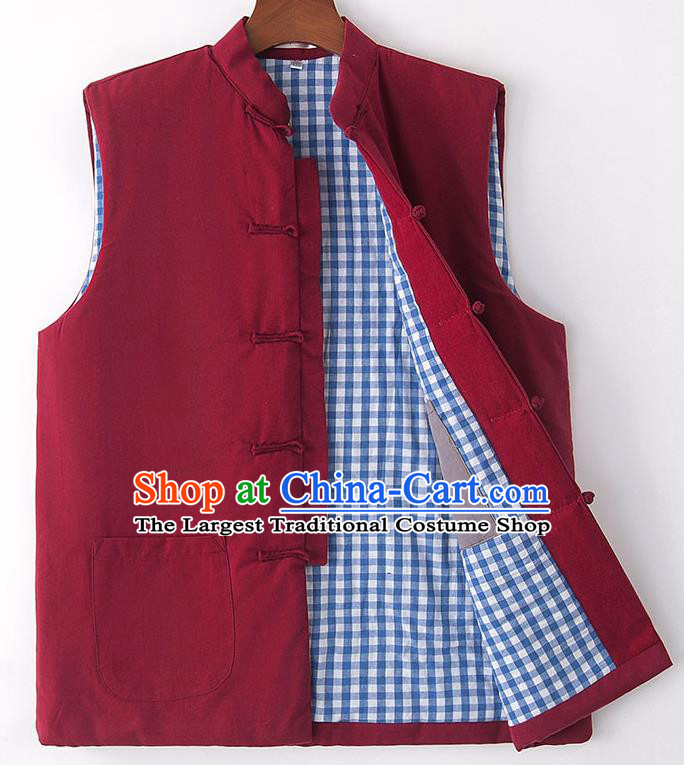 Chinese National Tang Suit Wine Red Vest Traditional Martial Arts Waistcoat Costumes for Men