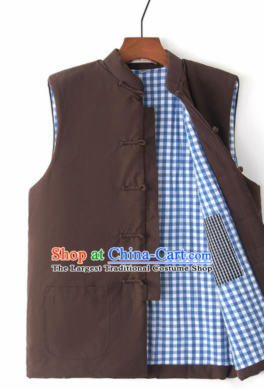 Chinese National Tang Suit Brown Vest Traditional Martial Arts Waistcoat Costumes for Men