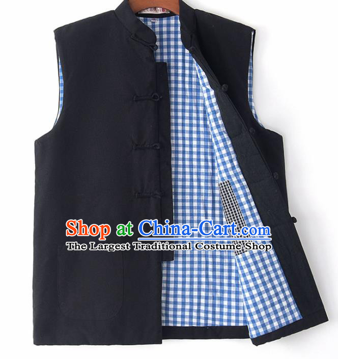 Chinese National Tang Suit Black Vest Traditional Martial Arts Waistcoat Costumes for Men