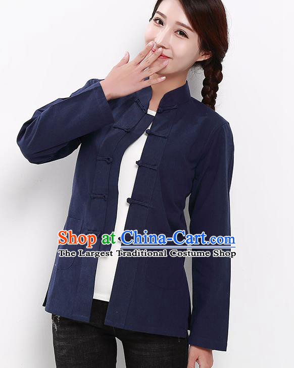 Chinese National Tang Suit Navy Blouse Traditional Martial Arts Shirt Costumes for Women