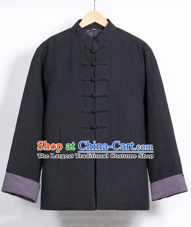 Chinese National Tang Suit Black Cotton Wadded Jacket Traditional Martial Arts Overcoat Costumes for Men