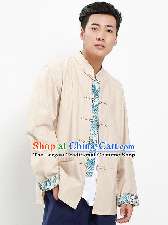 Chinese National Tang Suit Beige Flax Shirt Traditional Martial Arts Upper Outer Garment Costumes for Men