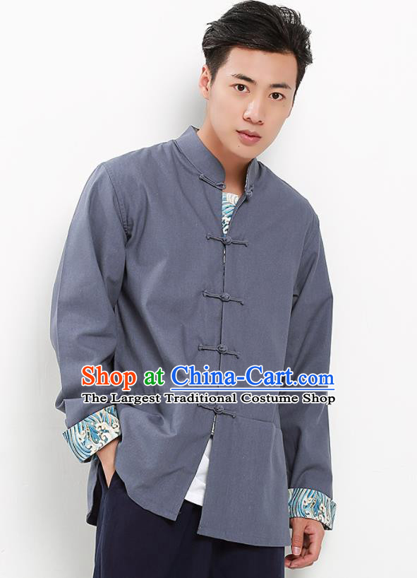 Chinese National Tang Suit Grey Flax Shirt Traditional Martial Arts Upper Outer Garment Costumes for Men