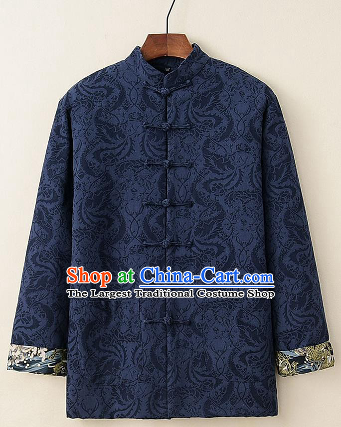 Chinese National Tang Suit Navy Thicken Jacket Traditional Martial Arts Costumes for Men